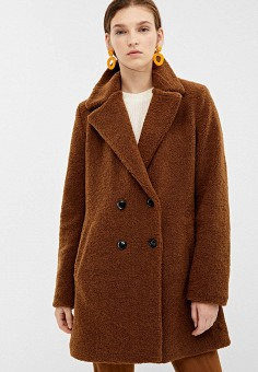 Шуба, Springfield, цвет: коричневый. Артикул: SP014EWGCQH0. Одежда / Верхняя одежда / Шубы и дубленки