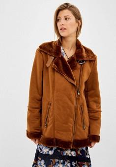 Дубленка, Springfield, цвет: коричневый. Артикул: SP014EWGCQH2. Одежда / Верхняя одежда / Шубы и дубленки