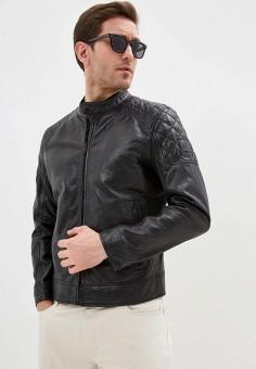Куртка кожаная, Strellson, цвет: черный. Артикул: ST004EMHYGI6. Одежда / Верхняя одежда / Кожаные куртки