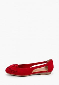 Балетки, Tamaris, цвет: красный. Артикул: TA171AWIJZM8. Обувь / Балетки