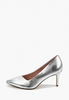Туфли, Tamaris, цвет: серебряный. Артикул: TA171AWKFMP4. Обувь / Туфли / Лодочки