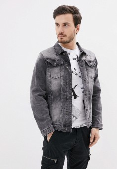 Куртка джинсовая, Terance Kole, цвет: серый. Артикул: TE020EMJCMT8. Одежда / Верхняя одежда / Джинсовые куртки