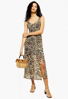 Платье, Topshop, цвет: коричневый. Артикул: TO029EWFOFI9.