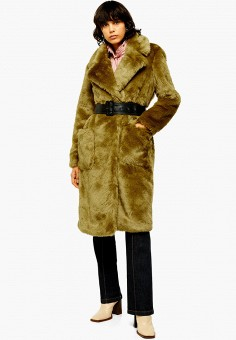 Шуба, Topshop, цвет: хаки. Артикул: TO029EWHHIY5. Одежда / Верхняя одежда / Шубы и дубленки