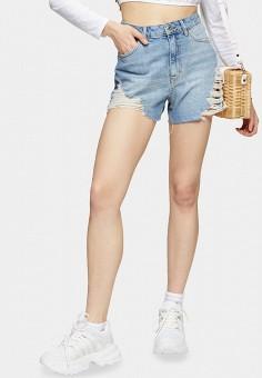 Шорты джинсовые, Topshop, цвет: голубой. Артикул: TO029EWISPN4. Одежда / Шорты