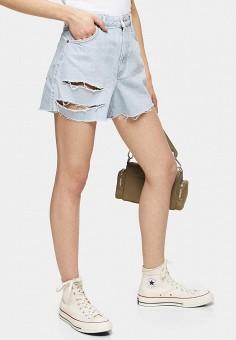 Шорты джинсовые, Topshop, цвет: голубой. Артикул: TO029EWIVSV0. Одежда / Шорты