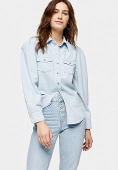 Рубашка джинсовая, Topshop, цвет: голубой. Артикул: TO029EWIVSV2.