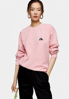Свитшот, Topshop, цвет: розовый. Артикул: TO029EWIVSY1.