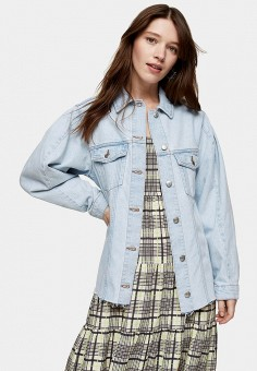 Куртка джинсовая, Topshop, цвет: голубой. Артикул: TO029EWIYFN0.