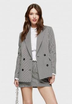 Пиджак, Topshop, цвет: серый. Артикул: TO029EWIZVG8. Одежда / Пиджаки и костюмы