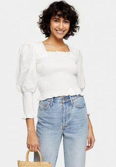 Блуза, Topshop, цвет: белый. Артикул: TO029EWJDDK9. Одежда / Блузы и рубашки