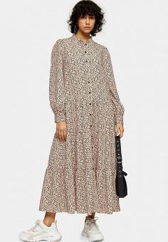 Платье, Topshop, цвет: бежевый. Артикул: TO029EWJDDM4.