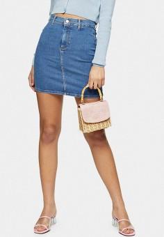 Юбка джинсовая, Topshop, цвет: синий. Артикул: TO029EWJGKA5. Одежда / Юбки