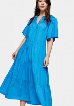 Платье, Topshop, цвет: синий. Артикул: TO029EWJGKC4. Одежда / Платья и сарафаны / Повседневные платья