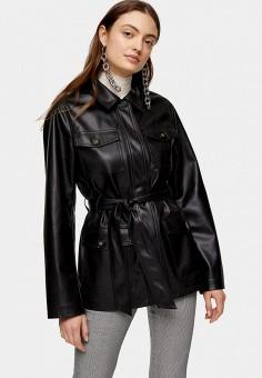 Куртка кожаная, Topshop, цвет: черный. Артикул: TO029EWJGKC8. Одежда / Верхняя одежда / Кожаные куртки