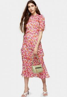 Платье, Topshop, цвет: розовый. Артикул: TO029EWJQUV0. Одежда / Платья и сарафаны