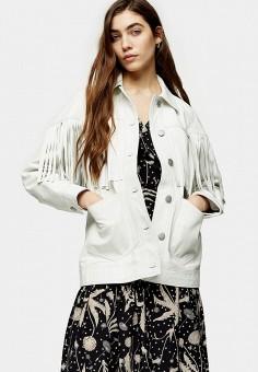 Куртка кожаная, Topshop, цвет: белый. Артикул: TO029EWJWYO0. Одежда / Верхняя одежда / Кожаные куртки