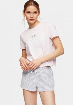 Пижама, Topshop, цвет: розовый, серый. Артикул: TO029EWKCFN3. Одежда / Домашняя одежда / Пижамы