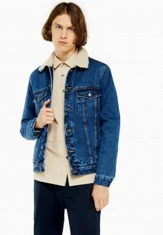 Куртка джинсовая, Topman, цвет: синий. Артикул: TO030EMHATY3.