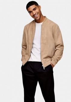Куртка кожаная, Topman, цвет: бежевый. Артикул: TO030EMISSB8. Одежда / Верхняя одежда / Кожаные куртки