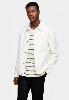 Куртка джинсовая, Topman, цвет: белый. Артикул: TO030EMJGIT4. Одежда / Верхняя одежда / Джинсовые куртки