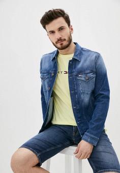 Куртка джинсовая, Tommy Jeans, цвет: синий. Артикул: TO052EMHJQG7. Одежда / Верхняя одежда / Джинсовые куртки