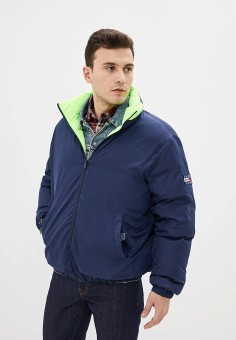 Куртка утепленная, Tommy Jeans, цвет: зеленый, синий. Артикул: TO052EMHJRD5. Одежда / Верхняя одежда
