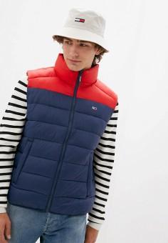 Жилет утепленный, Tommy Jeans, цвет: синий. Артикул: TO052EMJJBX5. Одежда / Верхняя одежда / Жилеты