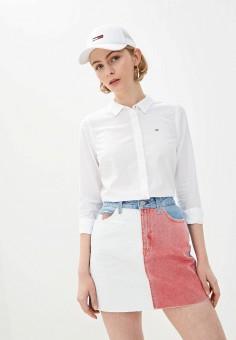 Рубашка, Tommy Jeans, цвет: белый. Артикул: TO052EWHMJQ1. Одежда / Блузы и рубашки / Рубашки