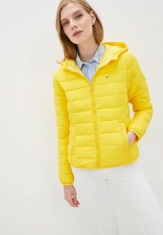 Куртка утепленная, Tommy Jeans, цвет: желтый. Артикул: TO052EWJJCR8. Одежда / Верхняя одежда / Демисезонные куртки