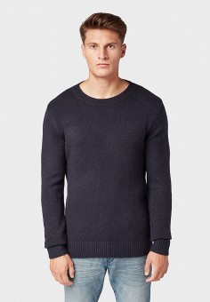 Джемпер, Tom Tailor, цвет: синий. Артикул: TO172EMGBFV1. Одежда / Джемперы, свитеры и кардиганы / Джемперы и пуловеры