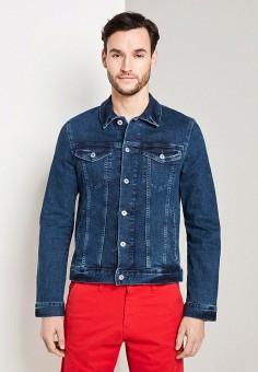 Куртка джинсовая, Tom Tailor, цвет: синий. Артикул: TO172EMIBAX8. Одежда / Верхняя одежда / Джинсовые куртки