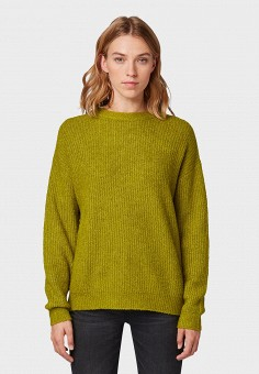 Джемпер, Tom Tailor, цвет: зеленый. Артикул: TO172EWGCEY1. Одежда / Джемперы, свитеры и кардиганы / Джемперы и пуловеры