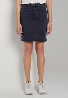 Юбка джинсовая, Tom Tailor, цвет: синий. Артикул: TO172EWHQCK0. Одежда / Юбки