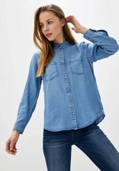 Рубашка джинсовая, Tom Tailor, цвет: синий. Артикул: TO172EWHQDE2. Одежда / Блузы и рубашки / Рубашки