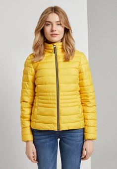 Куртка утепленная, Tom Tailor, цвет: желтый. Артикул: TO172EWKKLZ6. Одежда / Верхняя одежда / Демисезонные куртки