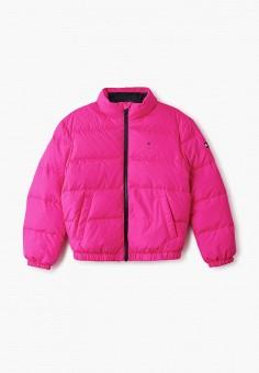 Пуховик, Tommy Hilfiger, цвет: розовый. Артикул: TO263EGIBPD8. Девочкам / Одежда / Верхняя одежда / Куртки и пуховики
