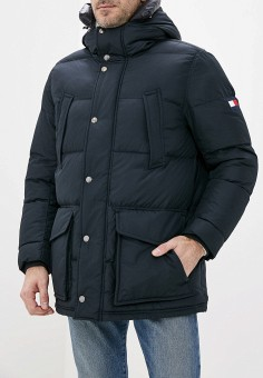 Пуховик, Tommy Hilfiger, цвет: синий. Артикул: TO263EMFVVM3. Одежда / Верхняя одежда / Пуховики и зимние куртки