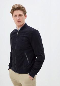 Куртка кожаная, Tommy Hilfiger, цвет: синий. Артикул: TO263EMHVBX9. Одежда / Верхняя одежда