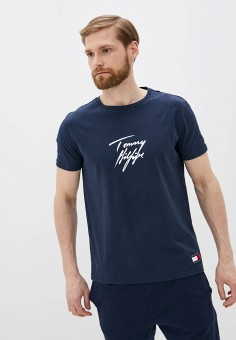 Футболка домашняя, Tommy Hilfiger, цвет: синий. Артикул: TO263EMHVCQ2. Одежда / Домашняя одежда