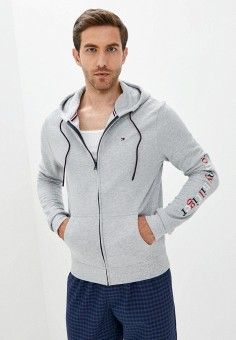 Толстовка домашняя, Tommy Hilfiger, цвет: серый. Артикул: TO263EMKBQI8. Одежда / Домашняя одежда