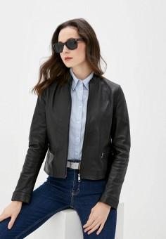 Куртка кожаная, Tommy Hilfiger, цвет: черный. Артикул: TO263EWJJAJ4. Одежда / Верхняя одежда / Кожаные куртки