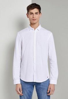 Рубашка, Tom Tailor Denim, цвет: белый. Артикул: TO793EMJCPG4. Одежда / Рубашки / Рубашки с длинным рукавом