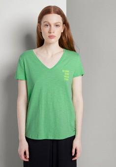 Футболка, Tom Tailor Denim, цвет: зеленый. Артикул: TO793EWJTYP9. Одежда / Футболки и поло / Футболки