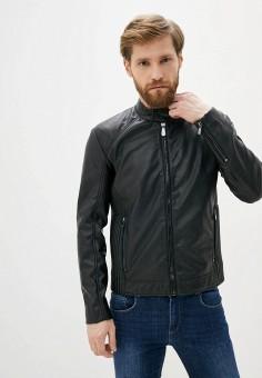 Куртка кожаная, Trussardi Jeans, цвет: черный. Артикул: TR016EMHKTR3.