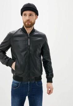 Куртка кожаная, Trussardi Jeans, цвет: черный. Артикул: TR016EMHKTR4.