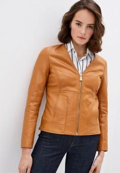 Куртка кожаная, Trussardi Jeans, цвет: бежевый. Артикул: TR016EWHKUJ6.