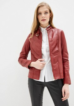 Куртка кожаная, Trussardi Jeans, цвет: красный. Артикул: TR016EWHKUK2.