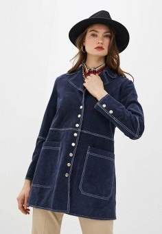 Куртка кожаная, Trussardi Jeans, цвет: синий. Артикул: TR016EWHKUK4.