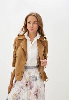 Куртка кожаная, Trussardi Jeans, цвет: коричневый. Артикул: TR016EWIQNN8. Одежда / Верхняя одежда / Кожаные куртки